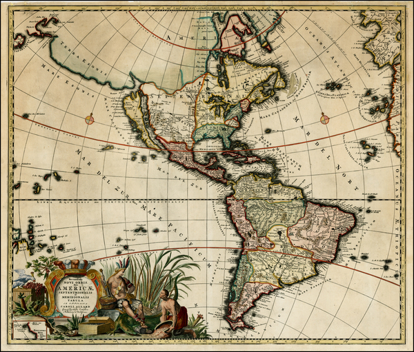 70-South America, Australia & Oceania, New Zealand, California and America Map By Carel Allard
