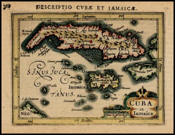 24-Caribbean and Cuba Map By Petrus Bertius