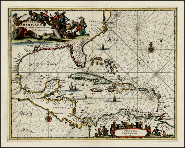 18-South, Southeast, Caribbean and Central America Map By John Ogilby
