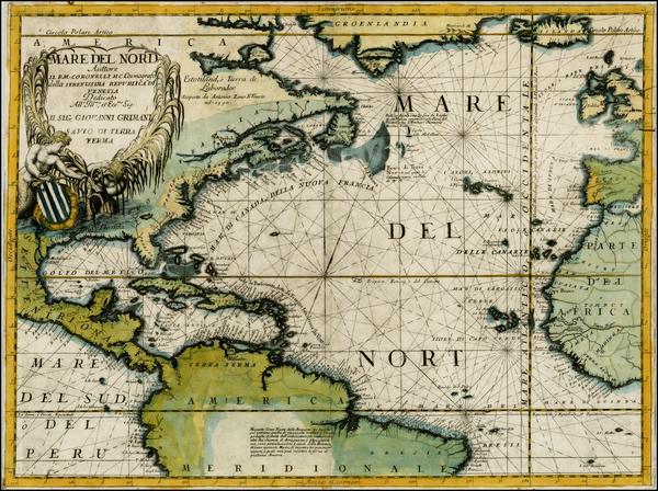 37-Atlantic Ocean, North America, South America and America Map By Vincenzo Maria Coronelli