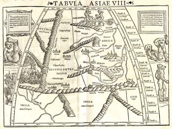 94-Asia, India, Central Asia & Caucasus and Curiosities Map By Sebastian Munster