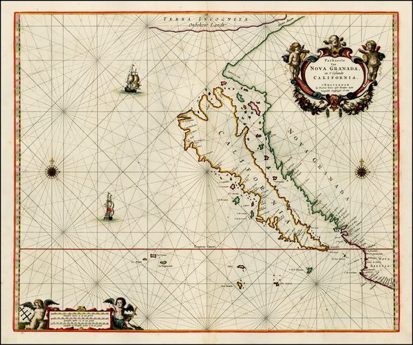 42-Southwest, North America, Baja California, Pacific and California Map By Pieter Goos