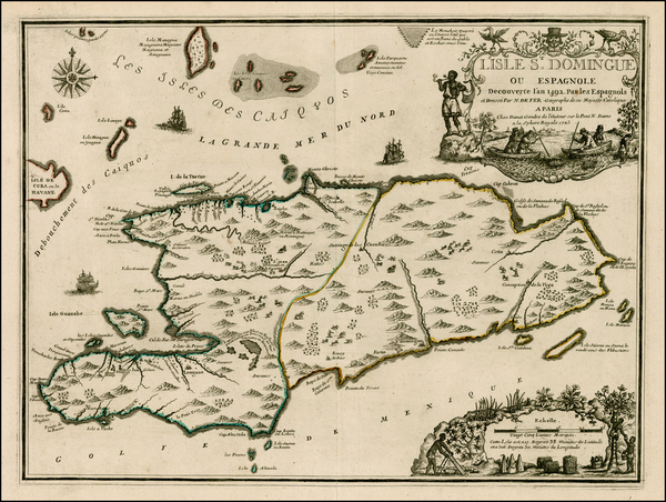55-Caribbean and Hispaniola Map By Nicolas de Fer / Guillaume Danet