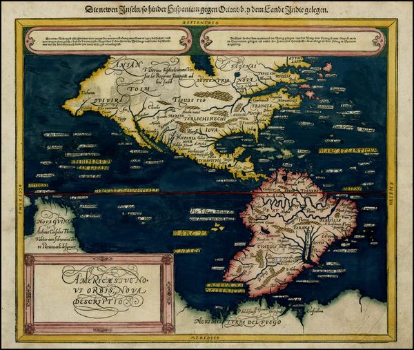 41-World, Western Hemisphere, South America and America Map By Sebastian Munster