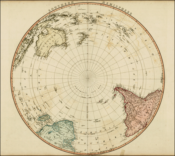 86-Southern Hemisphere, Polar Maps, Australia and Oceania Map By William Faden
