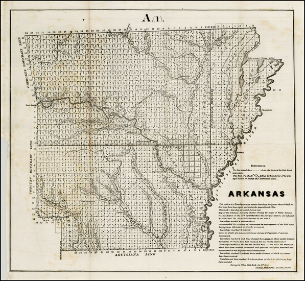 87-Arkansas Map By U.S. General Land Office