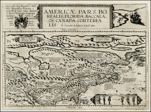 93-Polar Maps, United States and North America Map By Cornelis de Jode