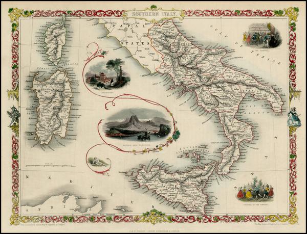 10-Italy, Mediterranean and Balearic Islands Map By John Tallis