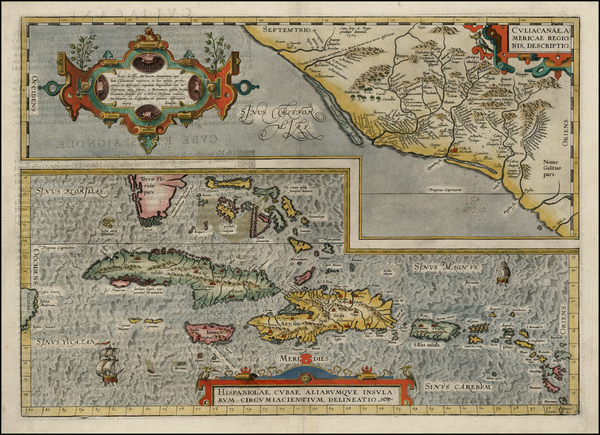 98-Southeast, Mexico and Caribbean Map By Abraham Ortelius