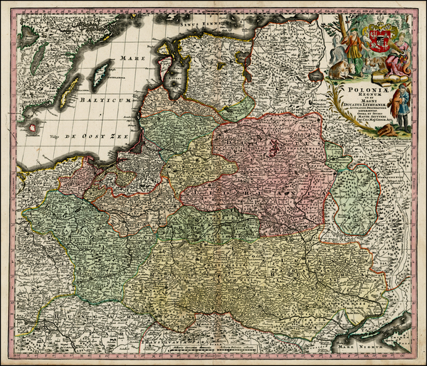 100-Poland, Russia, Ukraine and Baltic Countries Map By Matthaus Seutter