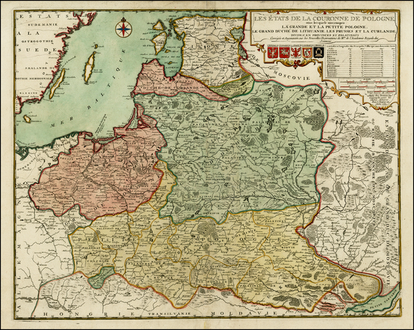 86-Poland, Russia, Ukraine and Baltic Countries Map By Nicolas de Fer / Louis Charles Desnos