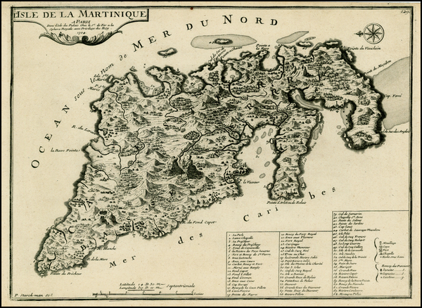 87-Martinique Map By Nicolas de Fer