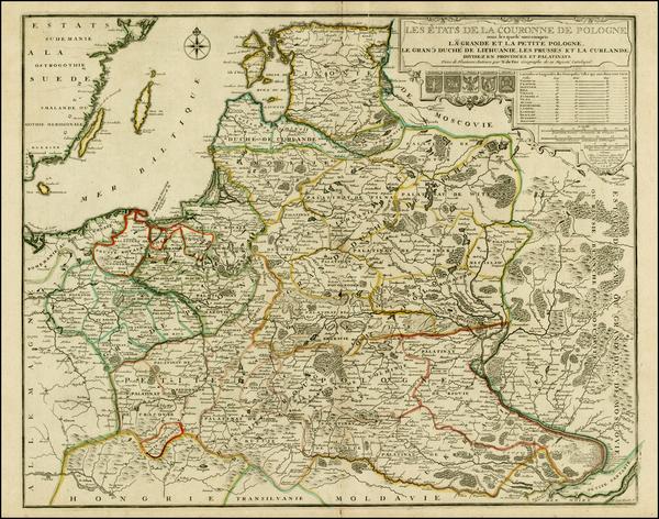 56-Poland, Russia, Ukraine and Baltic Countries Map By Nicolas de Fer