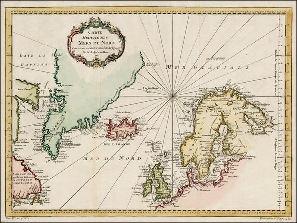 78-Polar Maps, Atlantic Ocean, Canada and Scandinavia Map By Jacques Nicolas Bellin