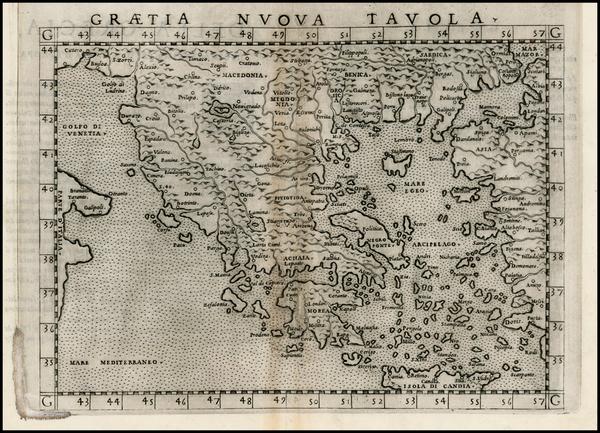 50-Balkans, Greece and Balearic Islands Map By Girolamo Ruscelli