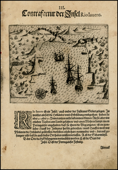 77-Brazil Map By Theodor De Bry