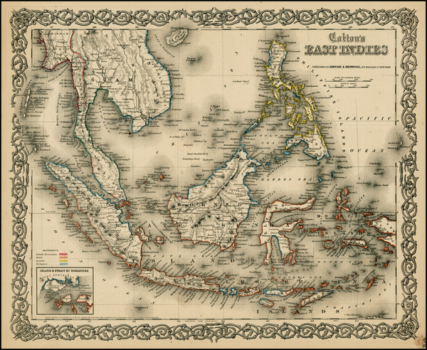 78-Southeast Asia, Philippines and Other Pacific Islands Map By Joseph Hutchins Colton