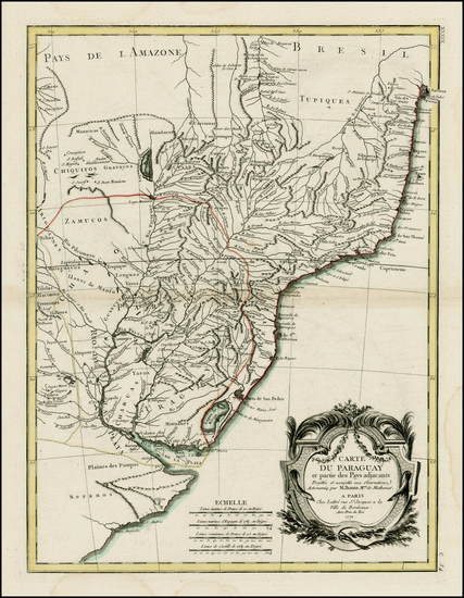 44-South America and Paraguay & Bolivia Map By Rigobert Bonne / Jean Lattre