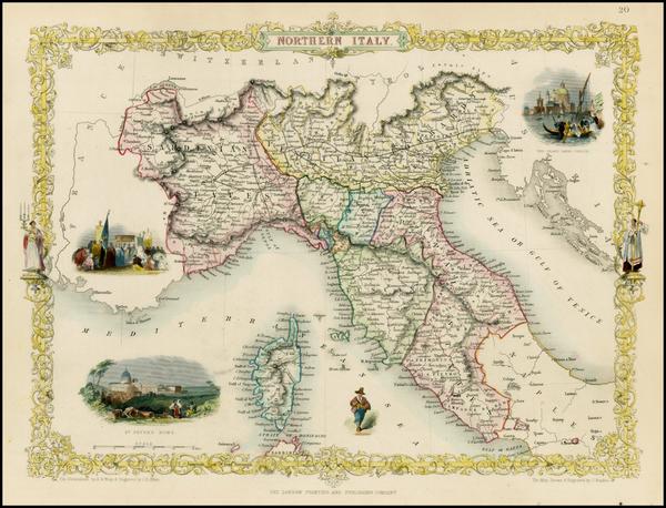 72-Italy, Mediterranean and Balearic Islands Map By John Tallis