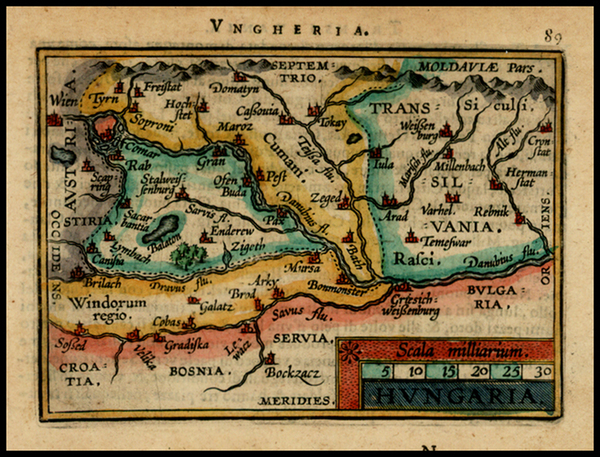 56-Hungary and Romania Map By Abraham Ortelius / Johannes Baptista Vrients