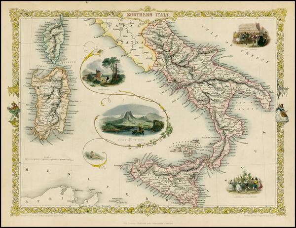 82-Italy, Mediterranean and Balearic Islands Map By John Tallis