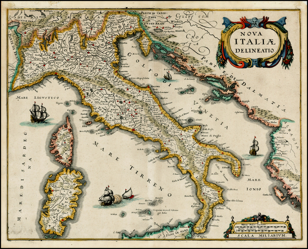 93-Italy Map By Matthaus Merian