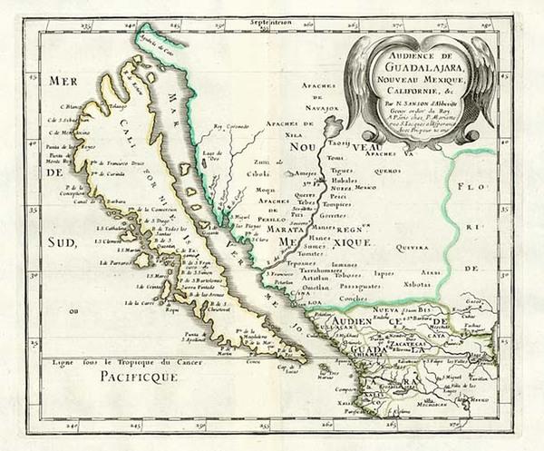 19-Southwest, Mexico, Baja California and California Map By Nicolas Sanson