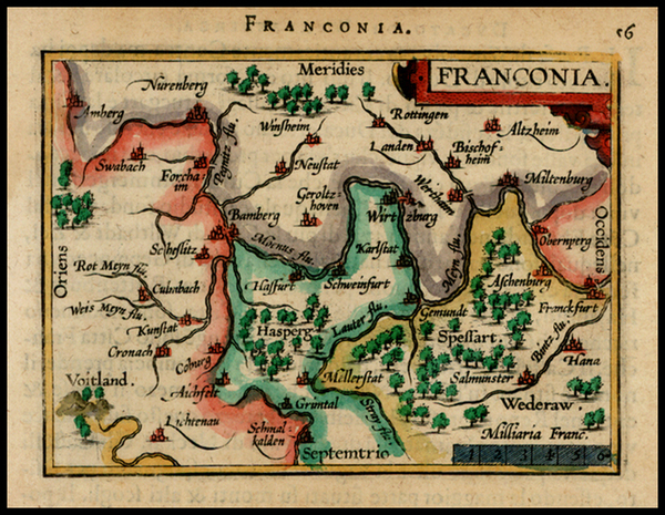 52-Germany Map By Abraham Ortelius / Johannes Baptista Vrients