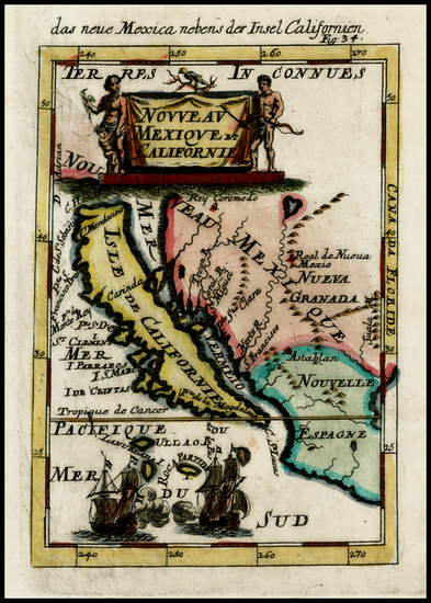 38-Mexico, Baja California and California Map By Alain Manesson Mallet