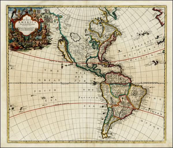 28-South America and America Map By John Senex