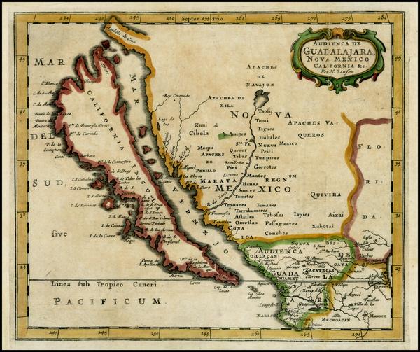 35-Southwest, Mexico, Baja California and California Map By Nicolas Sanson