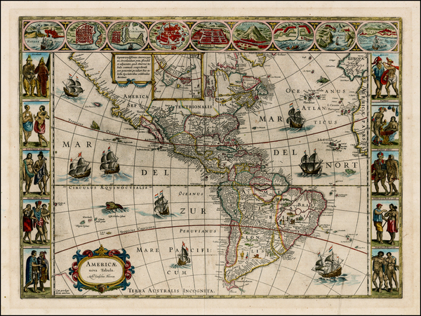 22-Western Hemisphere, North America, South America and America Map By Willem Janszoon Blaeu