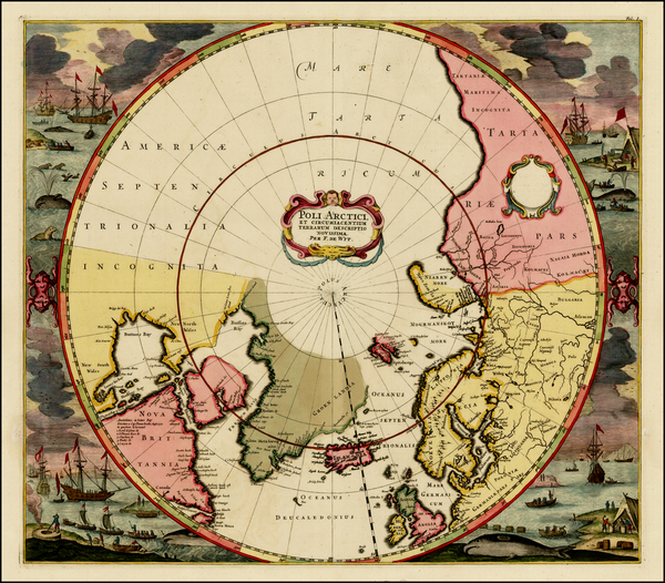 88-Northern Hemisphere, Polar Maps, Canada, Russia and Scandinavia Map By Frederick De Wit