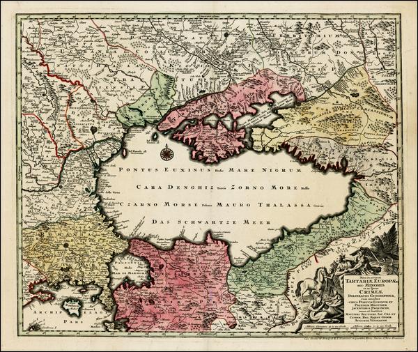 50-Russia, Ukraine, Romania, Balkans and Turkey & Asia Minor Map By Matthaus Seutter