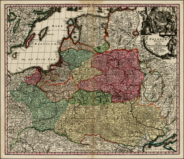 83-Poland, Russia, Ukraine and Baltic Countries Map By Matthaus Seutter