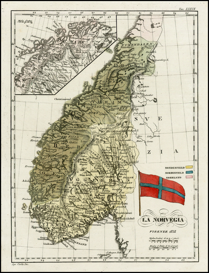 48-Scandinavia Map By Francesco Costantino Marmocchi