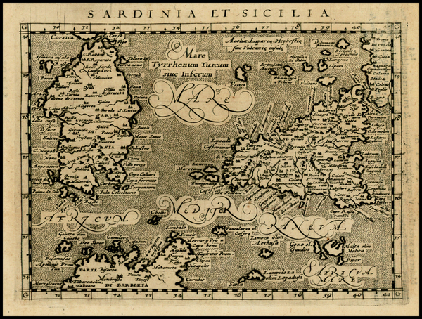 68-Italy, Mediterranean and Balearic Islands Map By Giovanni Antonio Magini