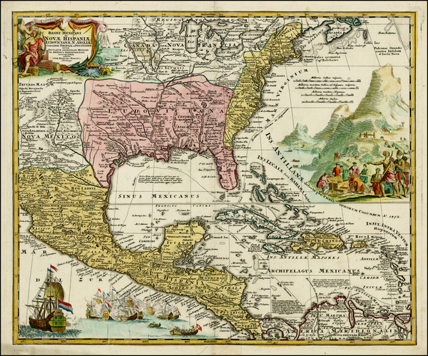 22-United States, South, Southeast, Texas, Midwest and Southwest Map By Johann Baptist Homann