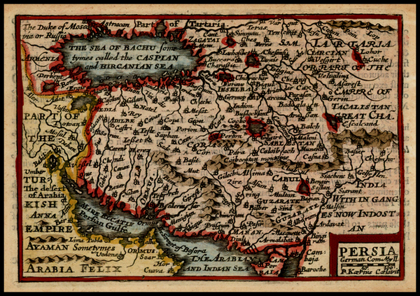 61-Central Asia & Caucasus, Middle East and Persia Map By John Speed / Pieter van den Keere