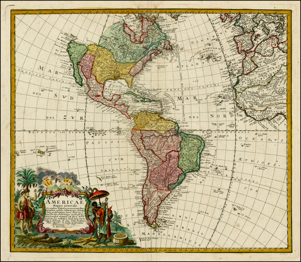59-Western Hemisphere, South America and America Map By Homann Heirs / Johann Matthaus Haas