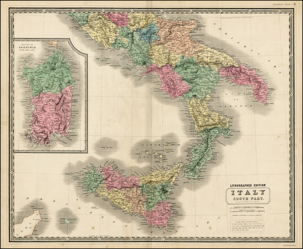 78-Italy and Balearic Islands Map By W. & A.K. Johnston