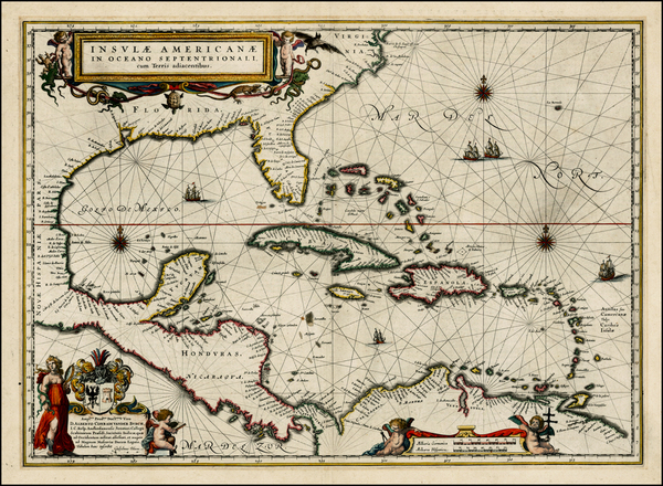 89-South, Southeast, Caribbean and Central America Map By Willem Janszoon Blaeu