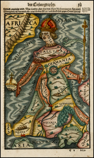 75-Europe, Europe, Curiosities and Comic & Anthropomorphic Map By Sebastian Munster