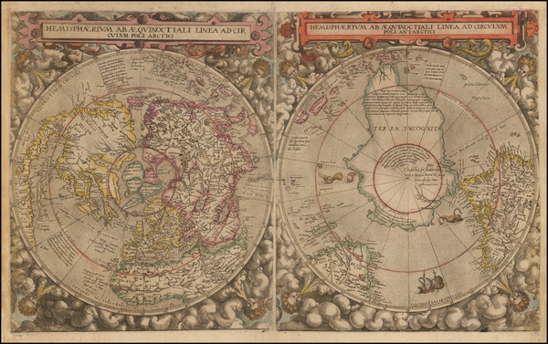 64-World, Northern Hemisphere and Southern Hemisphere Map By Cornelis de Jode