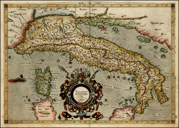 66-Italy and Balearic Islands Map By Gerard Mercator