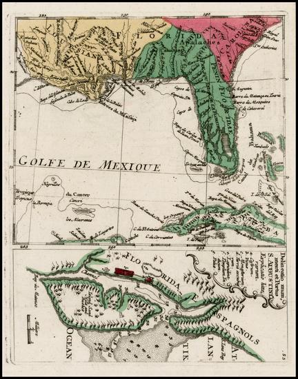 90-Florida, South and Southeast Map By Christian Friedrich von der Heiden