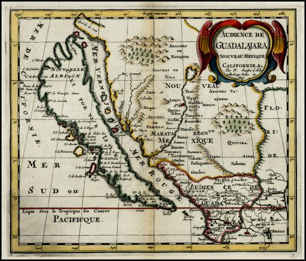 86-Southwest, Mexico, Baja California and California Map By Nicolas Sanson