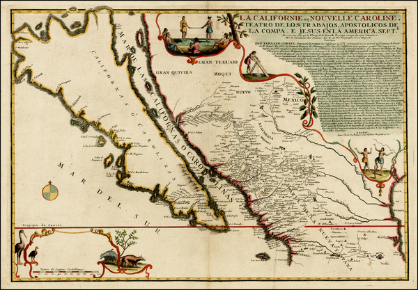 88-Southwest, Mexico, Baja California and California Map By Nicolas de Fer