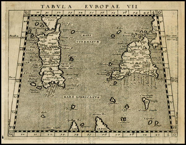 62-France, Italy, Balearic Islands and Sicily Map By Giovanni Antonio Magini