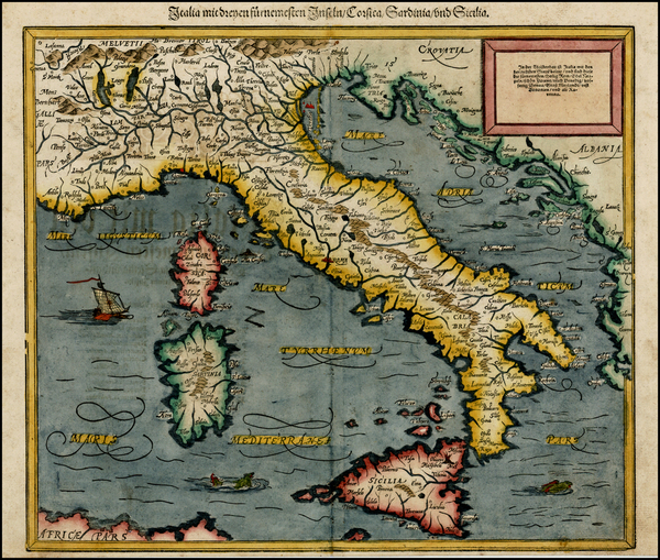 91-Italy and Balearic Islands Map By Sebastian Munster